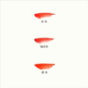 彩雲堂製鉄鉢の色見本(本朱(赤朱・極赤朱・黄朱))
