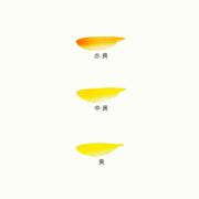 彩雲堂製鉄鉢の色見本(赤黄・中黄・黄)